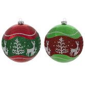 Glitter Reindeer & Trees Ball Ornaments