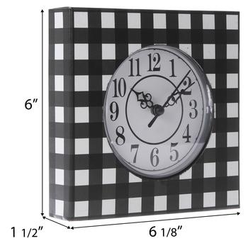 Black Buffalo Check Metal Wall Clock