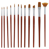 Golden Taklon Paint Brushes - 12 Piece Set