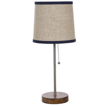 Silver & Wood Look Lamp