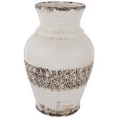 Crackled White Striped Vase