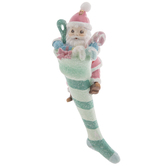 Blue & Pink Santa Stocking Ornament