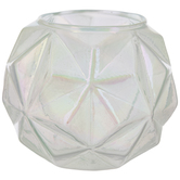 Iridescent Green Geometric Glass Candle Holder
