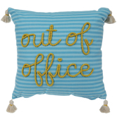Out Of Office Striped Tassel Pillow