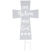 One Nation Cross Metal Garden Stake