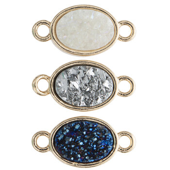 Oval Druzy Connectors