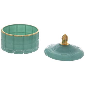 Teal & Gold Glass Jar