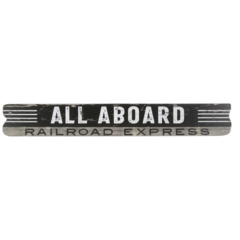 All Aboard Distressed Wood Wall Decor
