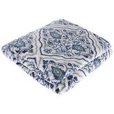 Blue & White Damask Throw Blanket