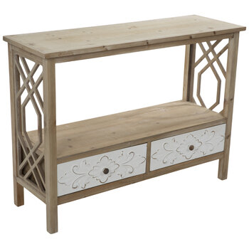 White Floral Wood Table With Drawers