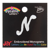 White Embroidered Script Letter Iron-On Applique - N