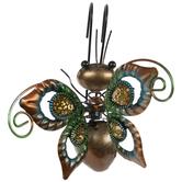 Brown & Green Butterfly Metal Pot Percher