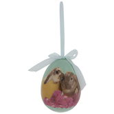 Bunnies & Flowers Egg Ornament