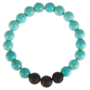 Imitation Turquoise & Lava Bead Bracelet