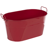 Red Oval Metal Container