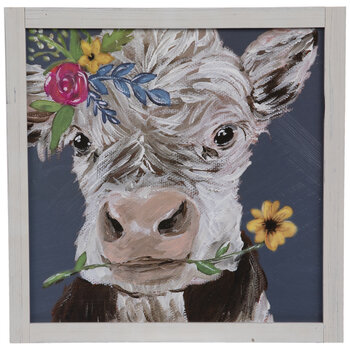 Cow With Flowers Wood Wall Decor