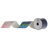 Pink & Purple Gradient Cut Edge Glitter Ribbon - 2 1/2""