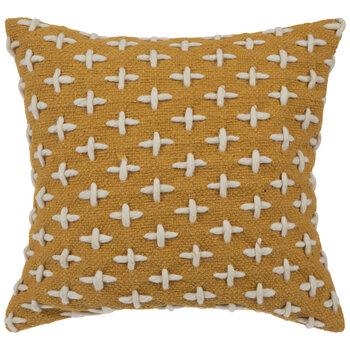 Mustard Wool Design Pillow Cover