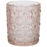 Pink Floral Glass Candle Holder