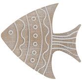 Whitewash Striped & Polka Dot Fish Wood Wall Decor