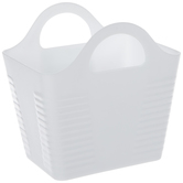 White Rectangle Ribbed Container With Handles