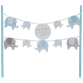 Blue Welcome Little One Elephant Cake Banner