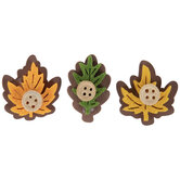 Leaf & Button Wood Stickers