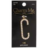 14K Gold Plated Pearl Letter Pendant - C