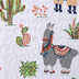 White Llama & Cactus Quilted Throw Blanket