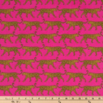 Pink Jaguar Apparel Fabric