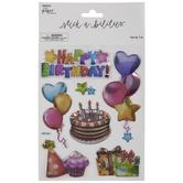 Happy Birthday Puffy Foil Stickers