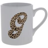 Leopard Print Letter Mug - G