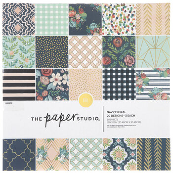 """Navy Floral Paper Pack - 12"""" x 12"""""""