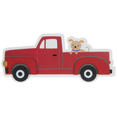 Truck With Dog Painted Wood Shape