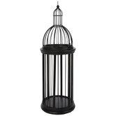 Black & Bronze Round Metal Birdcage