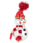 Smirking Snowman With Pom Hat Ornament