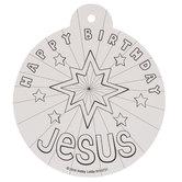 Happy Birthday Jesus Line Art Ornaments
