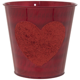 Red Metal Container With Glitter Heart