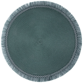 Teal Round Fringe Placemat