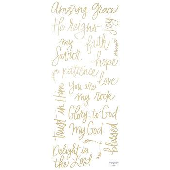 Gold Faith Words Foil Stickers