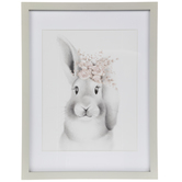 Floral Crown Bunny Framed Wall Decor
