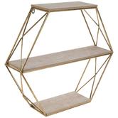 Three-Tiered Hexagon Wood Wall Shelf