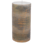 Brushed Copper & Gray Pillar Candle