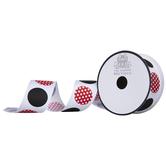 "White, Black & Red Dotted Grosgrain Ribbon - 1 1/2"""