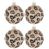 Tan Glitter Leopard Print Ornaments