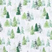 Silver Reindeer & Trees Cotton Fabric
