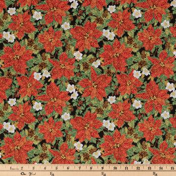 Poinsettia & Pinecone Cotton Fabric