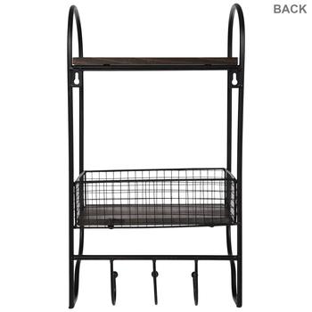 Grid Metal Wall Shelf With Hooks