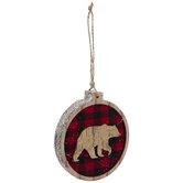 Bear Round Buffalo Check Ornament