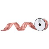 "Red & Cream Buffalo Check Wired Edge Ribbon - 1 1/2"""